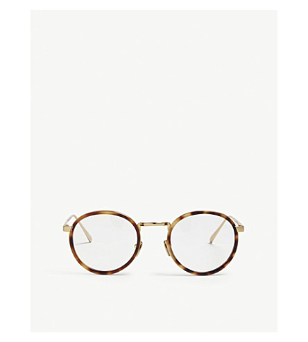 LINDA FARROW LFL182 oval-frame glasses (Yellow+gold