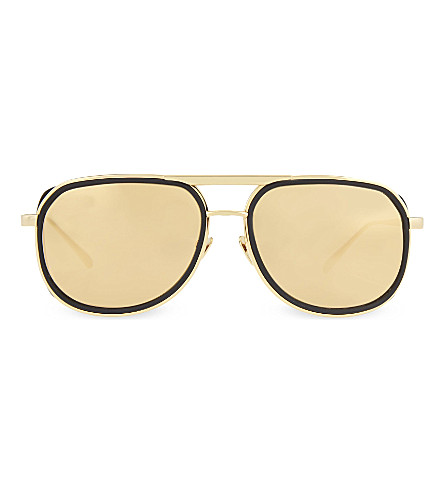 LINDA FARROW LFL236 square aviator sunglasses (Black+&+yellow+gold