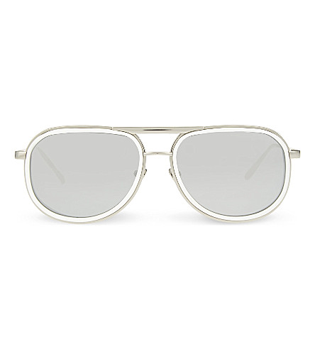 LINDA FARROW LFL236 aviator sunglasses (White+&+white+gold