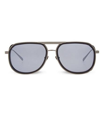 LINDA FARROW LFL236 rubberised aviator sunglasses (Black+&+matt+silver