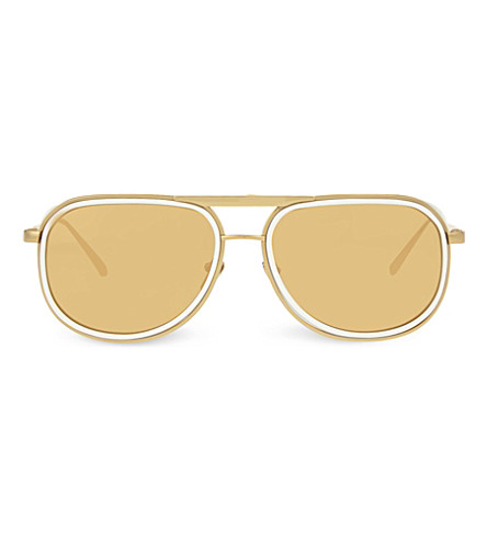 LINDA FARROW LFL236 aviator sunglasses (White+&+yellow+gold