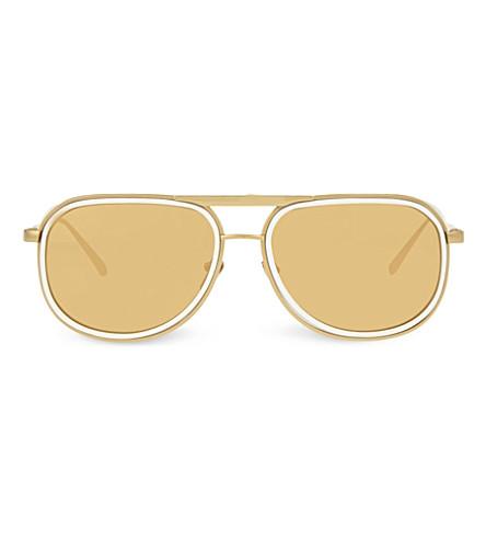 LINDA FARROW LFL236 aviator sunglasses (White+&+yellow+gold