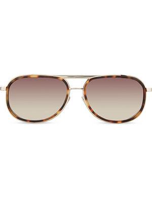 LINDA FARROW Lfl2363 tortoiseshell & light gold aviator sunglasses