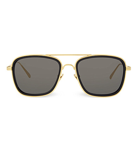 LINDA FARROW LFL237 square aviator sunglasses (Black+&+yellow+gold