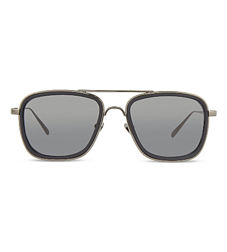 LINDA FARROW LFL237 square aviator sunglasses (Black+&+dark+grey