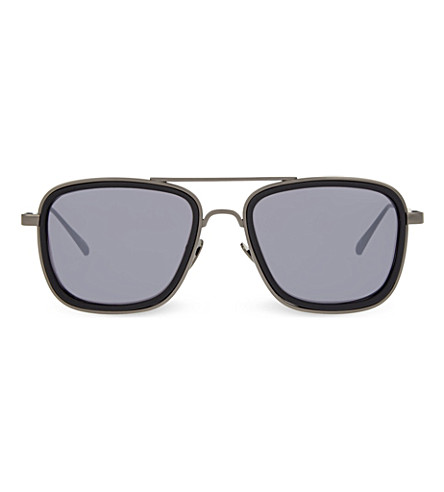 LINDA FARROW LFL237 square aviator sunglasses (Black+&+matt+silver