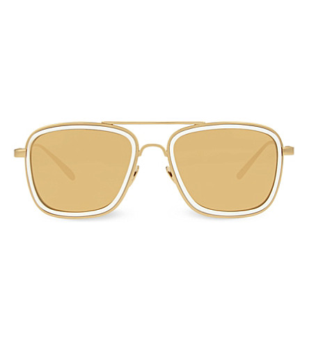 LINDA FARROW LFL237 square aviator sunglasses (White+&+yellow+gold