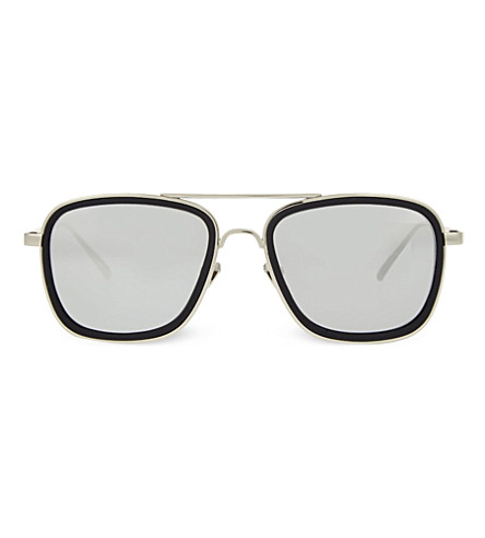 LINDA FARROW LFL237 square aviator sunglasses (Black+&+white+gold