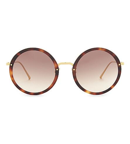 LINDA FARROW Lfl239 玳瑁圆框太阳镜 (玳瑁