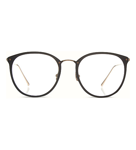 LINDA FARROW Limited edition LFL251 round optical glasses (Black & rose gold