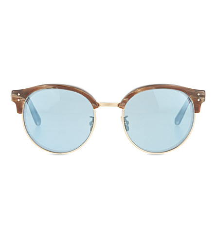 LINDA FARROW Light horn half-frame sunglasses (Horn & mirror lens