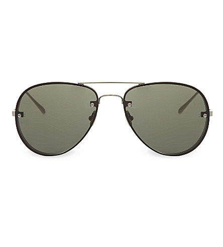LINDA FARROW LFL30 aviator sunglasses (White+gold