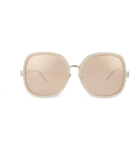 LINDA FARROW Online exclusive LFL310 oversized sunglasses (Pink & light gold