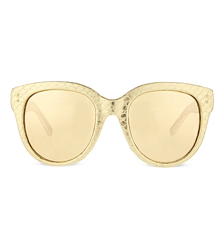 LINDA FARROW Exclusive LFL333 snake skin d-frame sunglasses (Gold&silversnakeskin
