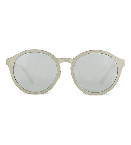 LINDA FARROW Lfl338c2 round oversized sunglasses (White gold silver