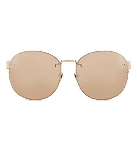 LINDA FARROW LFL3413 Frameless round sunglasses (Rose+gold