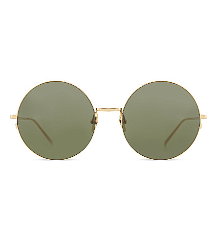 LINDA FARROW LFL3431 perfectly rounded wire framed sunglasses (Yellow gold