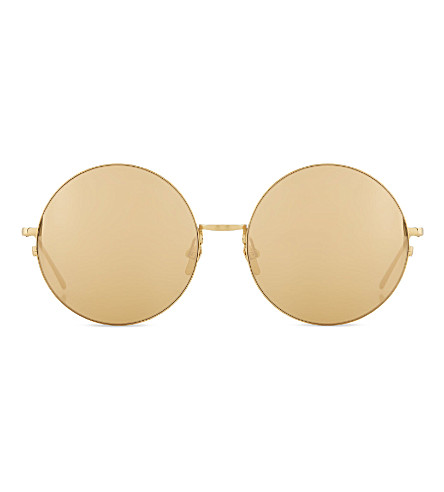 LINDA FARROW LFL3432 perfectly rounded sunglasses (Gold+gold+lens