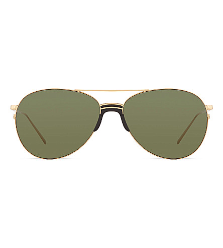 LINDA FARROW LFL3441 sports luxe aviator sunglasses (Yellow+gold