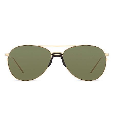LINDA FARROW LFL3441 sports luxe aviator sunglasses (Yellow+gold