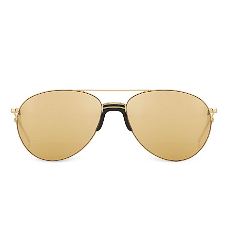 LINDA FARROW LFL3442 sports luxe aviator sunglasses (Gold+gold+lens