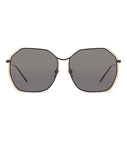 LINDA FARROW Anglular oversized sunglasses (Dark+nickel