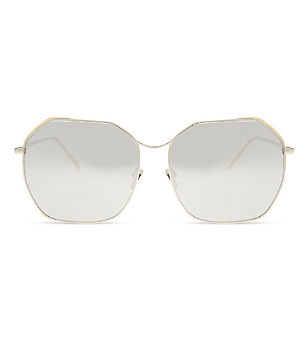 LINDA FARROW Lf350 圆形框架太阳镜 (白色 + 金色