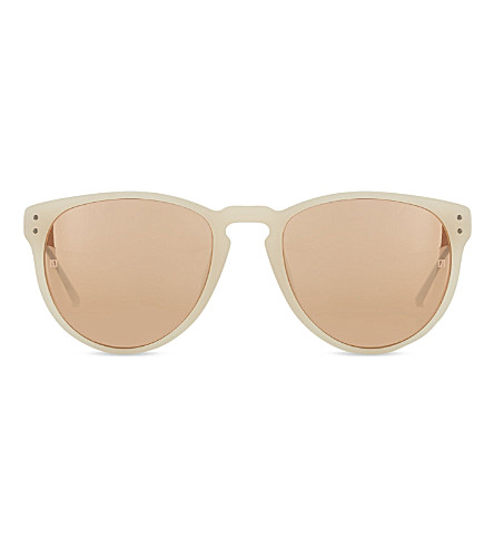 LINDA FARROW LFL36010 curved keyhole sunglasses (Matt milky pink