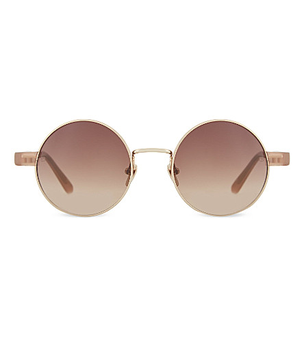 LINDA FARROW Round rose gold sunglasses (Mink