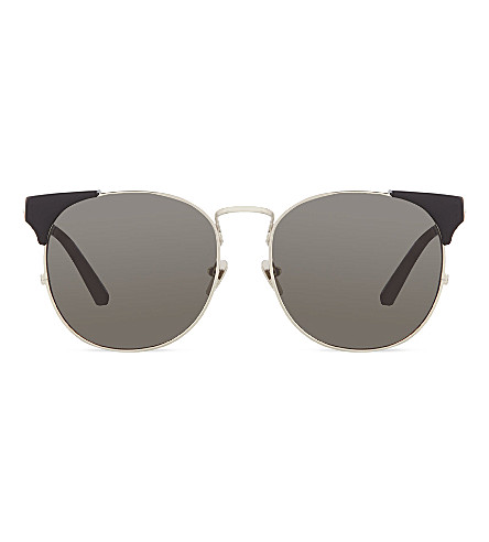 LINDA FARROW Innovative brow line sunglasses (Black white gold