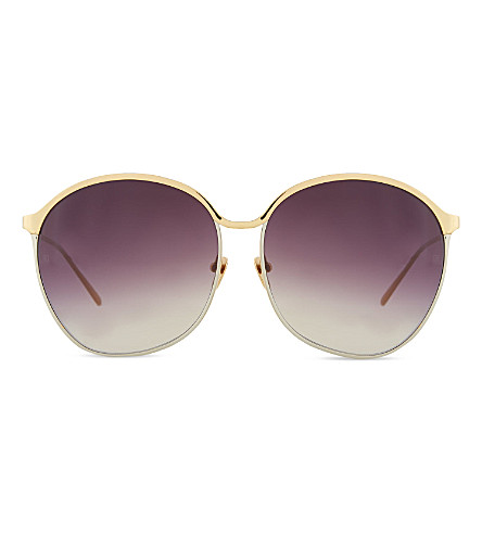 LINDA FARROW Curved oversized sunglasses (Yellow+gold