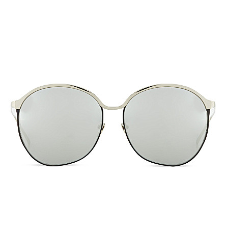 LINDA FARROW LFL3774 curved oversized sunglasses (White+gold+platinum