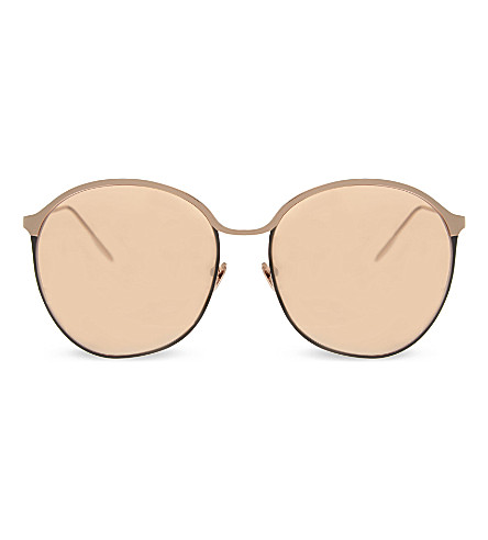 LINDA FARROW LFL3775 curved oversized sunglasses (Rose+gold