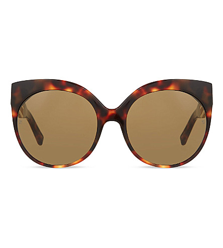 LINDA FARROW LFL388 cage detail cat eye sunglasses (Tortoise&yellowgold