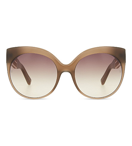 LINDA FARROW LFL388 cage detail cat eye sunglasses (Mocha+&+light+gold