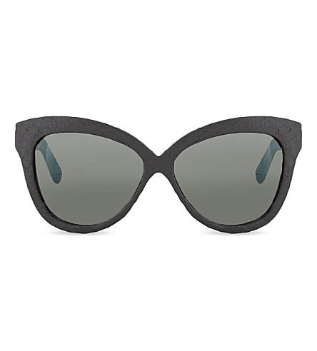 LINDA FARROW LFL3824 black and azure snake curved sunglasses (Black & azure