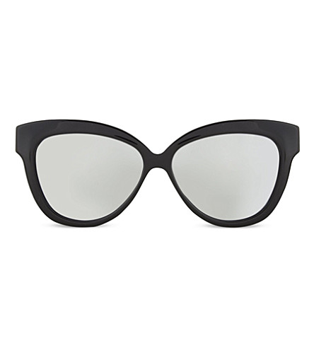 LINDA FARROW Chunky cateye sunglasses (Black+platinum+lens