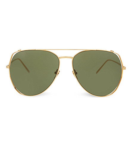 LINDA FARROW LFL3971 oversized sculptural sunglasses (Yellow+gold