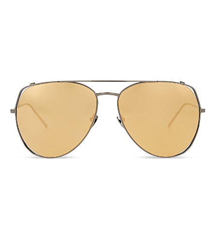 LINDA FARROW LFL3978 oversized sculptural sunglasses (Nickel