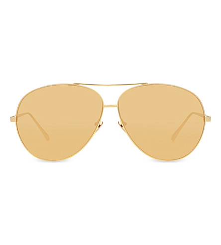 LINDA FARROW LFL3985 aviator sunglasses (Yellow+gold