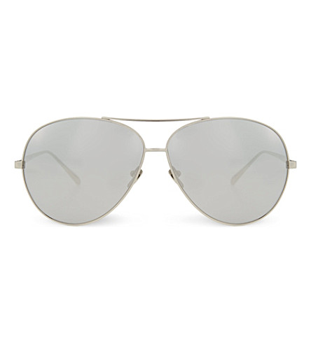 LINDA FARROW LFL398 mirrored aviators (White+gold