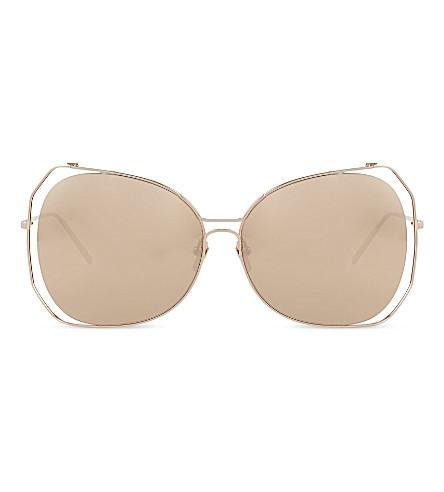 LINDA FARROW LFL399 oversized sculptural sunglasses (Rose+gold