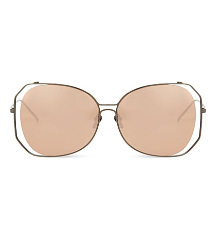 LINDA FARROW LFL399 oversized sculptural sunglasses (Nickel
