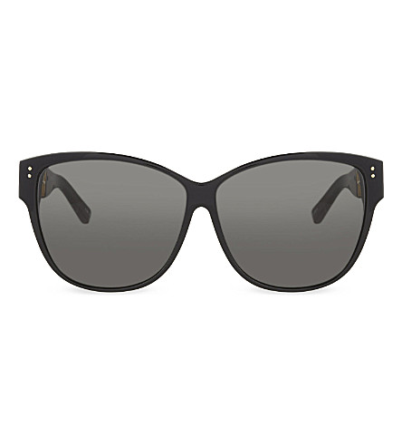 LINDA FARROW LFL411 oversized square sunglasses (Black+&+yellow+gold