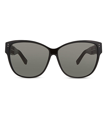 LINDA FARROW LFL411 oversized square sunglasses (Black & nickel