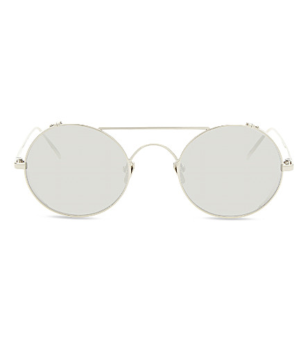 LINDA FARROW LFL427 round-frame sunglasses (White+gold