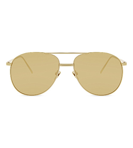 LINDA FARROW LFL482 aviator sunglasses (Yellow+gold