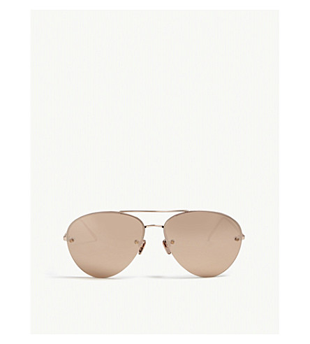 LINDA FARROW Lfl498 aviator-frame sunglasses (Rose+gold