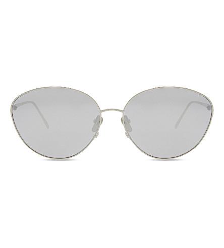 LINDA FARROW LFL508 cat-eye sunglasses (White+gold