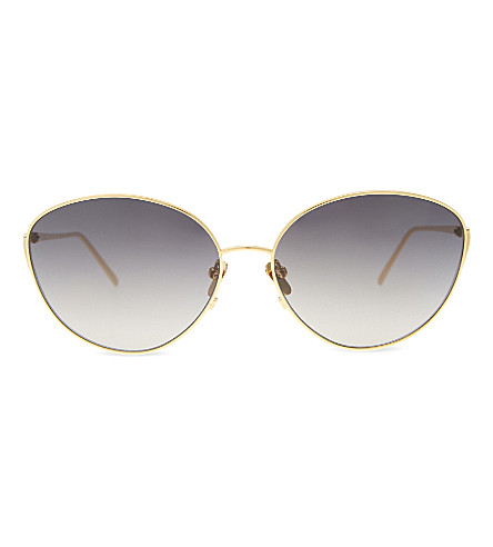 LINDA FARROW Lf508 cat-eye sunglasses (Yellow+gold